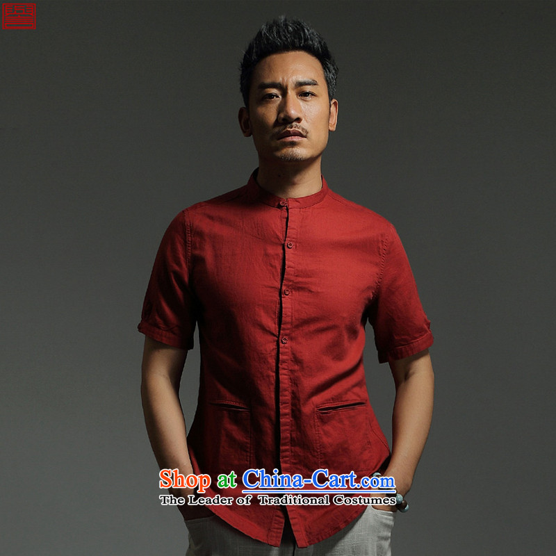 Renowned Chinese New service men linen shirt Tang dynasty male cotton linen short-sleeved stylish collar summer leisure 2015 solid color half sleeve wine red 185