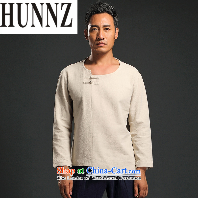 China wind men HUNNZ long-sleeved shirt and improvement of Tang Dynasty male and replace stylish ethnic Han-T-shirt White燲L