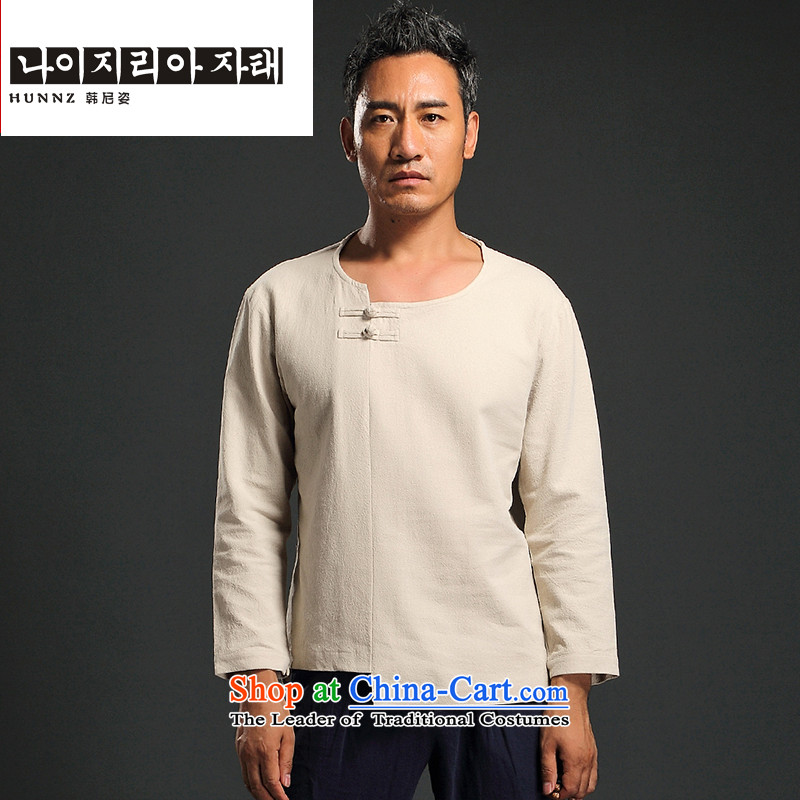 China wind men HANNIZI long-sleeved shirt and improvement of Tang Dynasty male and stylish with Han-ethnic white T-shirt?XXXL