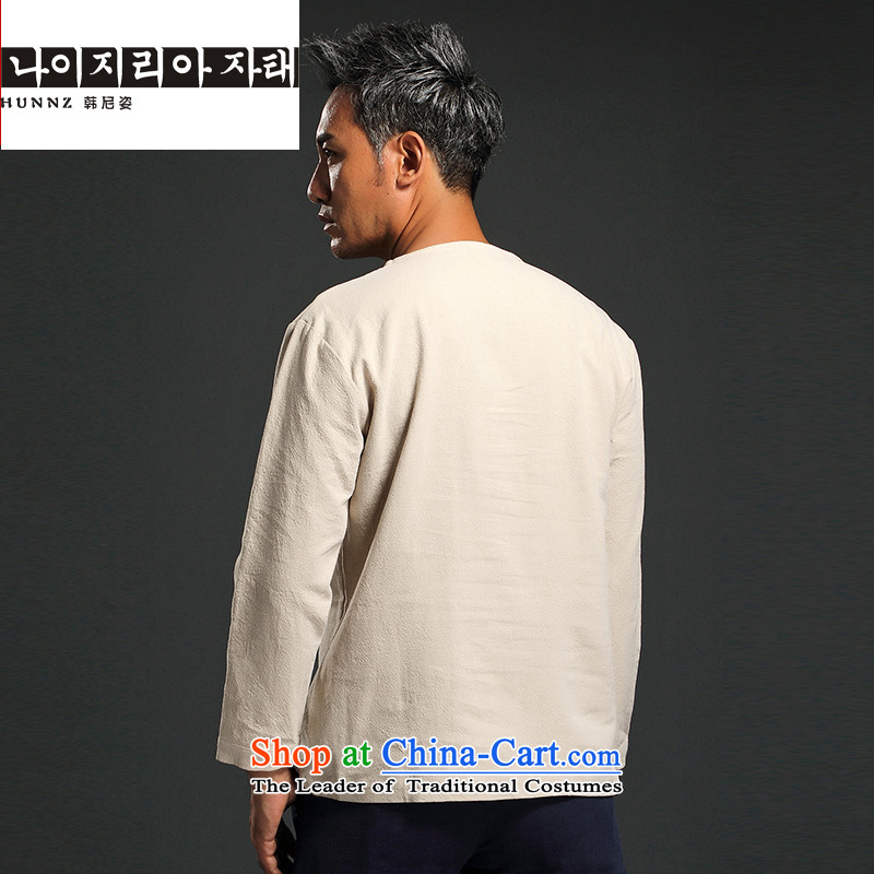 China wind men HANNIZI long-sleeved shirt and improvement of Tang Dynasty male and replace stylish ethnic Han-t-shirt , white XXXL, won Gigi Lai (hannizi) , , , shopping on the Internet