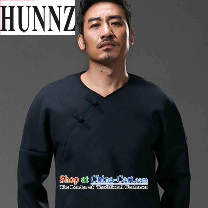 Hunnz China wind Men's Long-Sleeve stylish improved Tang dynasty V-Neck male and Chinese male disc detained men dark blue XL
