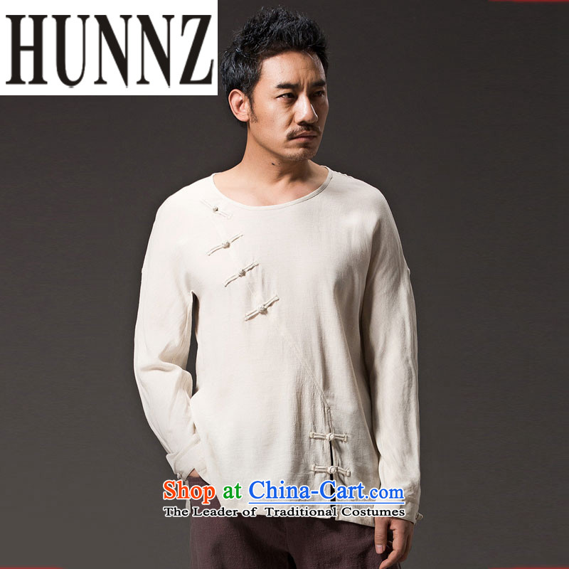 Retro men's beauty HUNNZ ethnic linen long-sleeved Han-trendy improved China wind Mock-Neck Shirt clip White燲L Disk