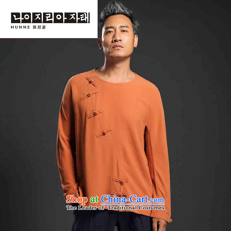 Retro men's beauty HANNIZI ethnic linen long-sleeved Han-trendy improved China wind Mock-Neck Shirt snap-orange?XXL