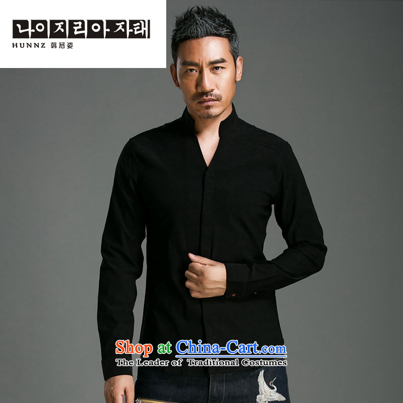 Hannizi China wind shirt men linen solid color long-sleeved stylish China wind Tang blouses sheikhs wind men black?L is too small a code