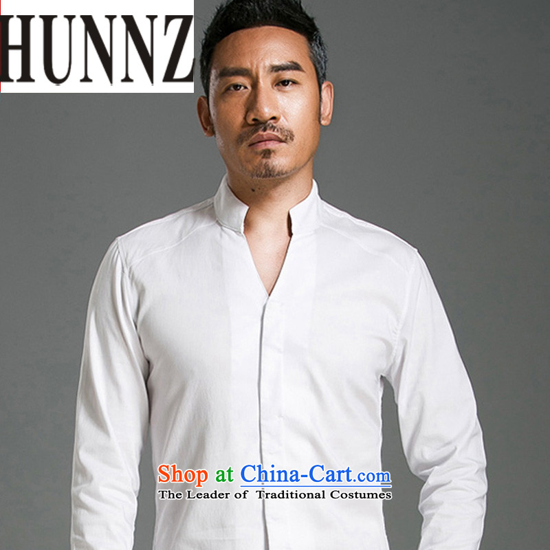 Hunnz China wind shirt men linen solid color long-sleeved stylish China wind Tang blouses sheikhs wind men white燲XXL is too small a code