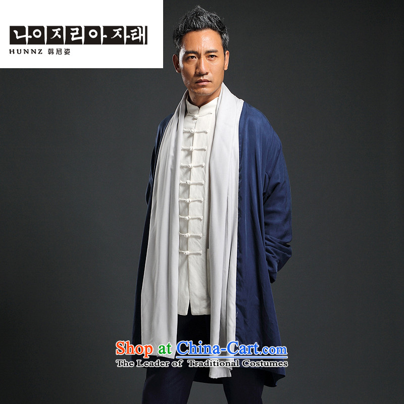 Classical China wind HANNIZI Tang dynasty cardigan improved Han-tea serving Chinese long cotton clothes for men leprosy?XXXXL Dark Blue