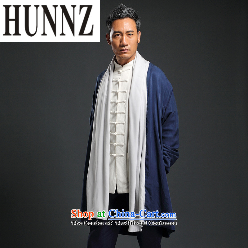Classical China wind HUNNZ Tang dynasty cardigan improved Han-tea serving Chinese long cotton clothes for men leprosy dark blue燲XL