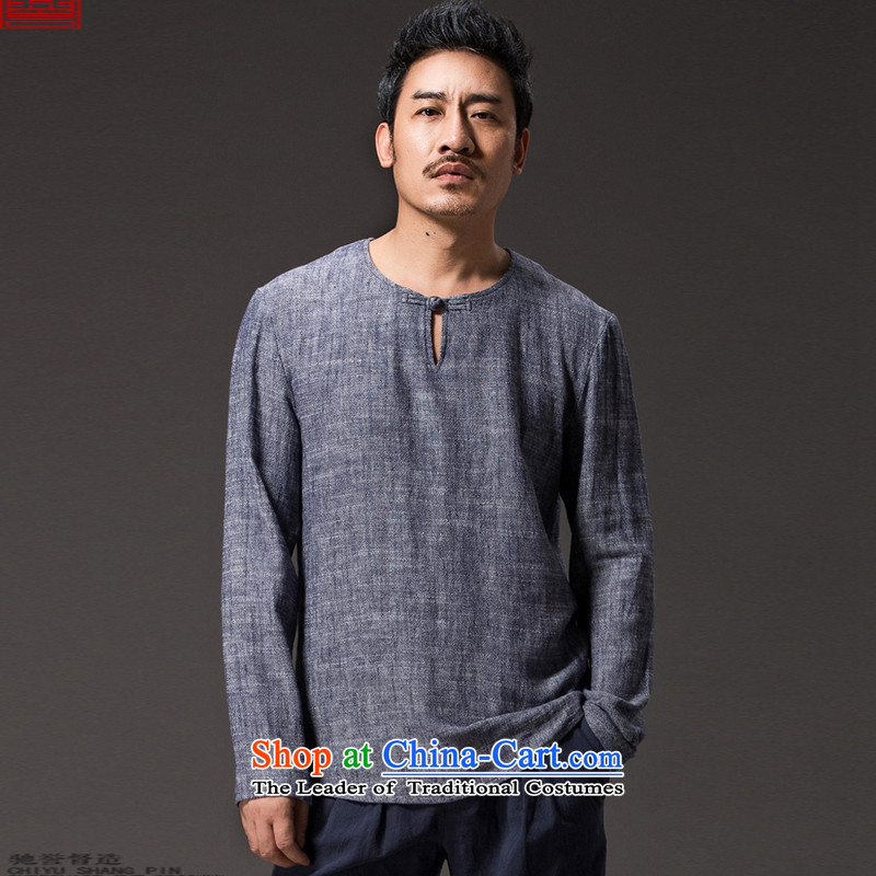 Renowned Chinese Services China wind men T-shirt spring long-sleeved ethnic linen men Tang blouses, forming the relaxd casual shirts 56 Dark Gray?4XL