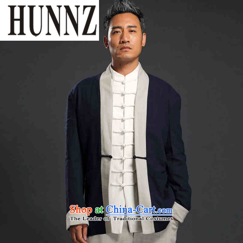 Hunnz China wind linen Han-long-sleeved male cardigan improved Tang blouses Chinese Antique large teachers men dark blue燲XL