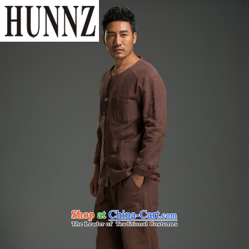Hunnz minimalist men long-sleeved Kit China wind Solid Color Tang Dynasty Chinese classic kung fu shirt round-neck collar cotton linen Sau San BOURDEAUX聽XL