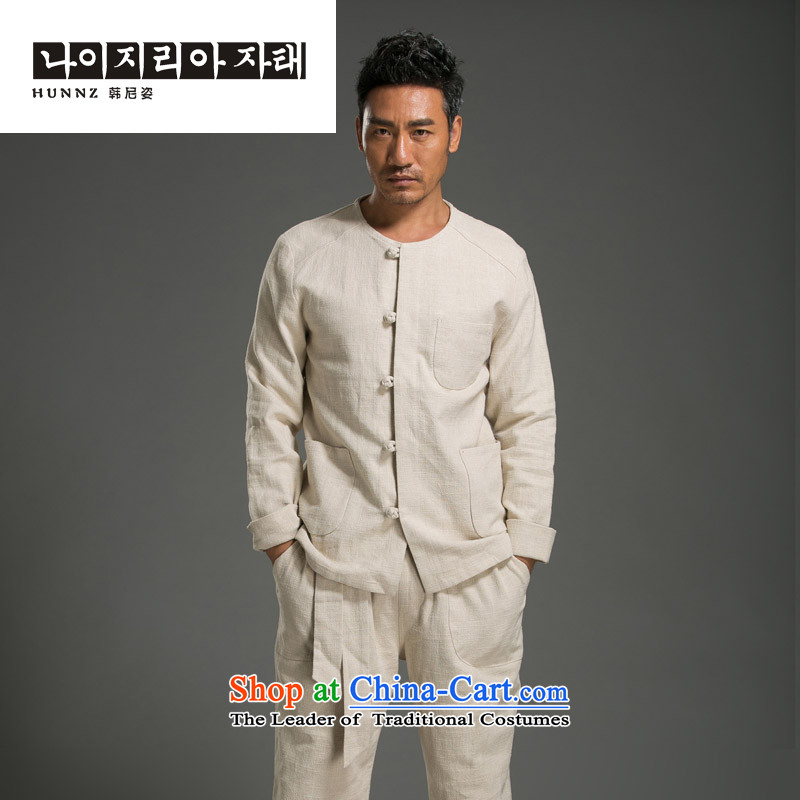 Hannizi minimalist men long-sleeved Kit China wind Solid Color Tang Dynasty Chinese classic kung fu shirt round-neck collar cotton linen Sau San light yellow燣