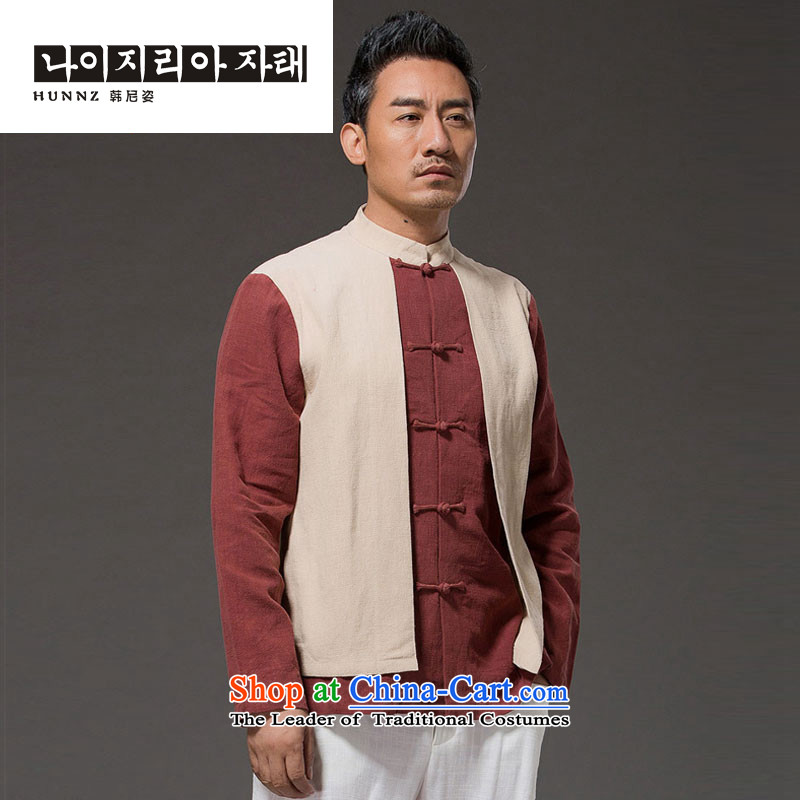 Hannizi New Products China wind leave two long-sleeved men Sau San Han-linen stylish colors disc deduction spell mock Light Yellow燲L