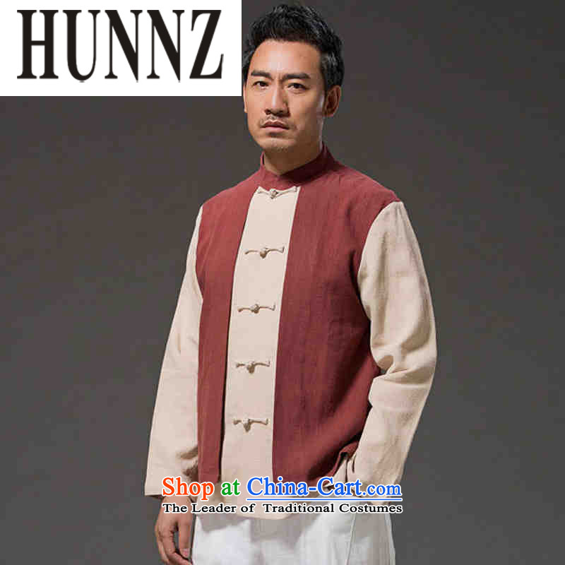 Hunnz New Products China wind leave two long-sleeved men Sau San Han-linen stylish colors disc deduction spell mock deep red燣