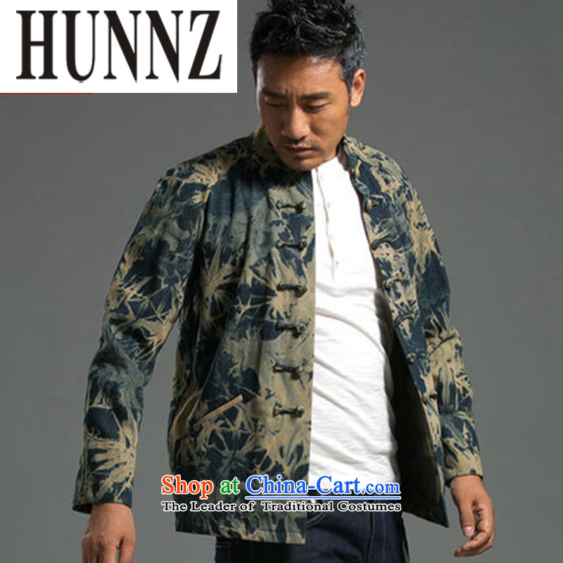 Stylish HUNNZ denim Tang dynasty bleeding China wind Tang casual Tray Tie long-sleeved jacket male blouses national green燲XL
