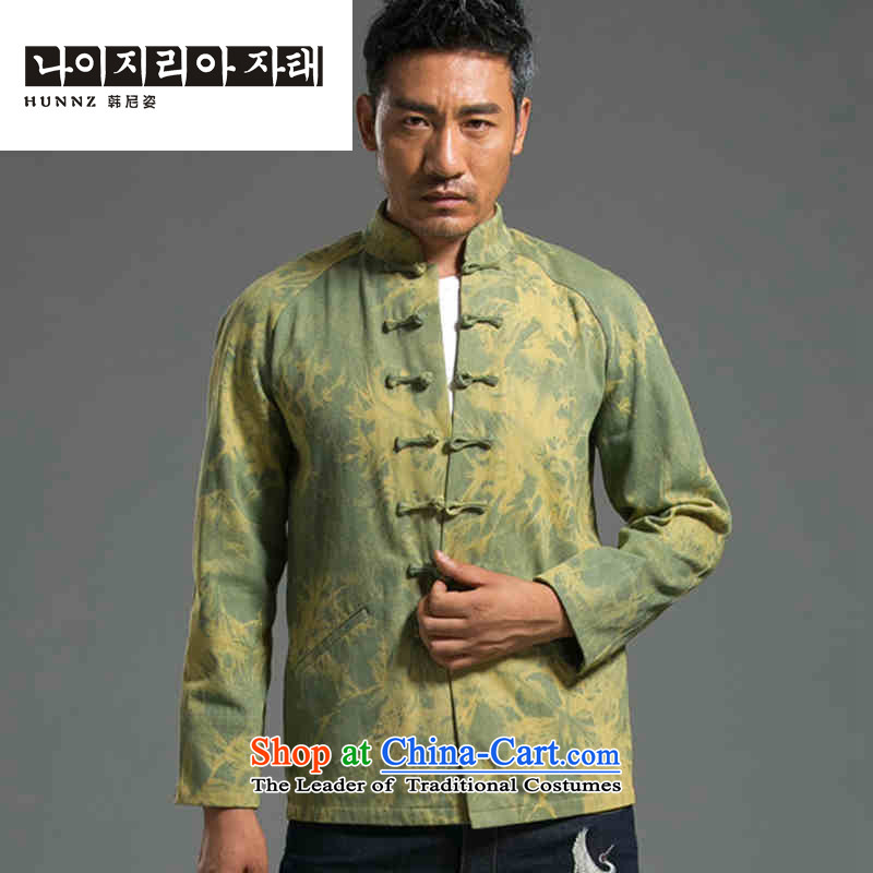 Stylish HANNIZI denim Tang dynasty bleeding China wind Tang casual Tray Tie long-sleeved jacket male blouses national grass green?L