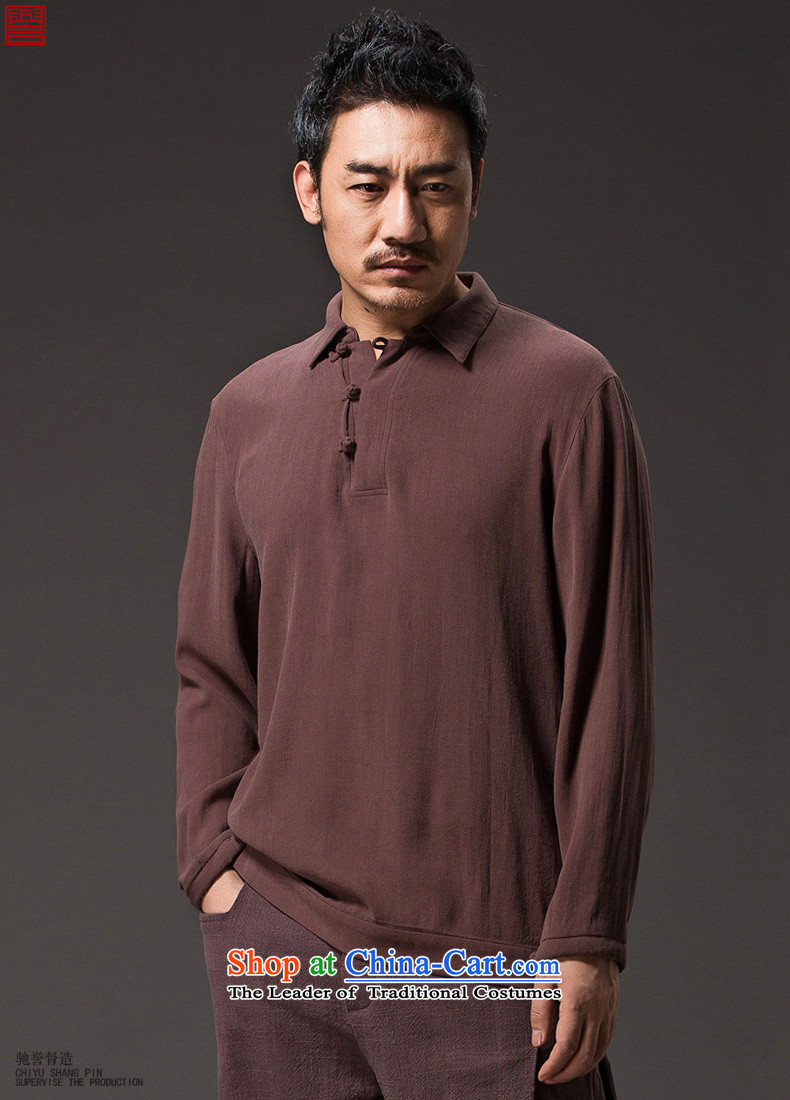 Renowned Chinese Services 2015 spring long-sleeved T-shirt men China wind men flip shirt new Chinese Han-tray clip C8 black聽L pictures leisure, prices, brand platters! The elections are supplied in the national character of distribution, so action, buy now enjoy more preferential! As soon as possible.