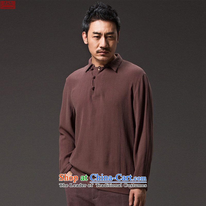 Renowned Chinese Services 2015 spring long-sleeved T-shirt men China wind men flip shirt new Chinese Han-disc C8聽, L, Black Tie Leisure (chiyu renowned shopping on the Internet has been pressed.)