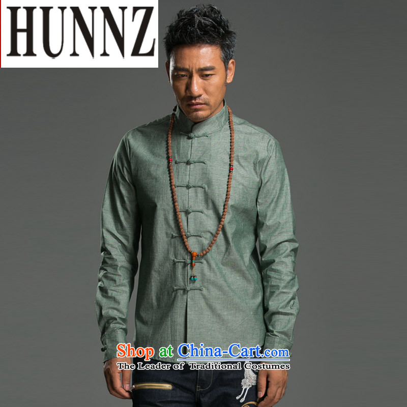 Hunnz natural cotton linen Tang dynasty men Sau San disk-l Chinese Han-ethnic costumes men green燣