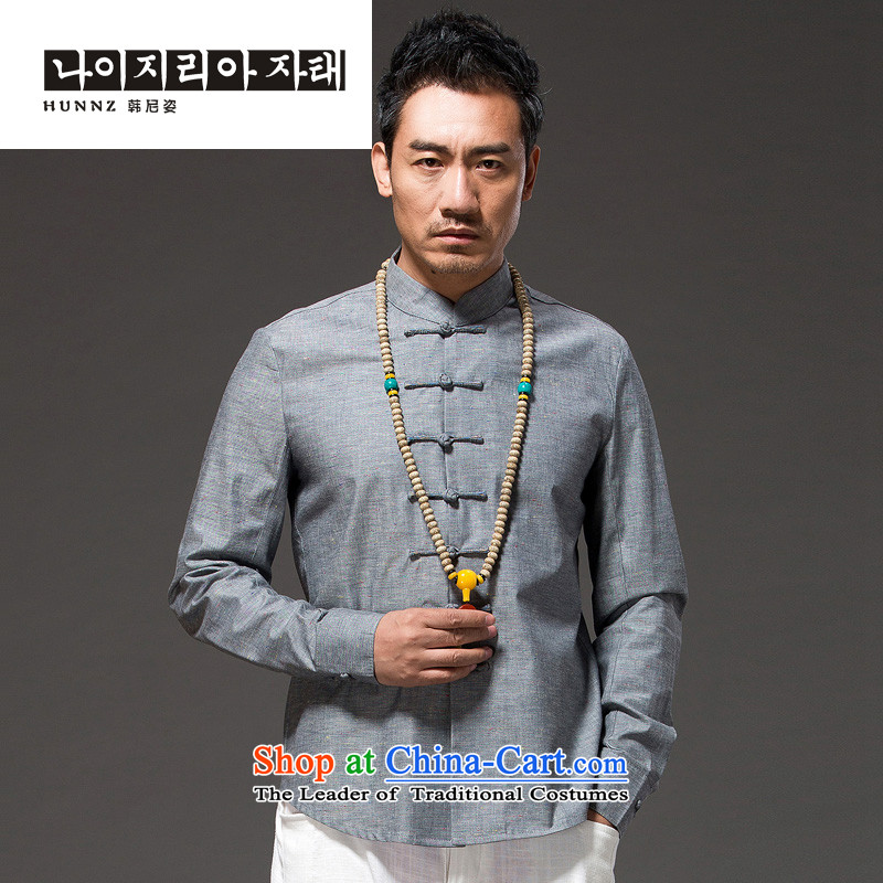 Hannizi natural cotton linen Tang dynasty men Sau San disk-l Chinese Han-ethnic costumes men Gray燣
