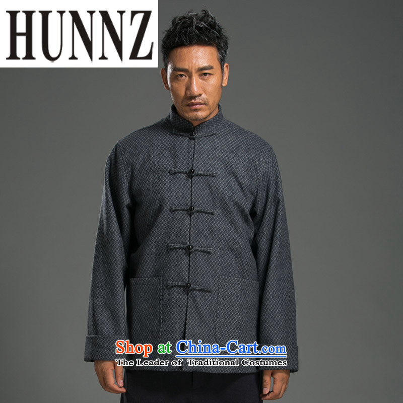 Linen China wind HUNNZ Tang dynasty collar up long-sleeved loose men detained blouses classical national bead decoration gray燲XL