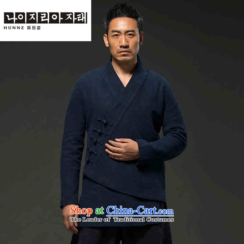 Men's natural classical HANNIZI cotton linen Tang dynasty long-sleeved improved Han-spiritual hermit loose ends a coat-dark blue燲XXL