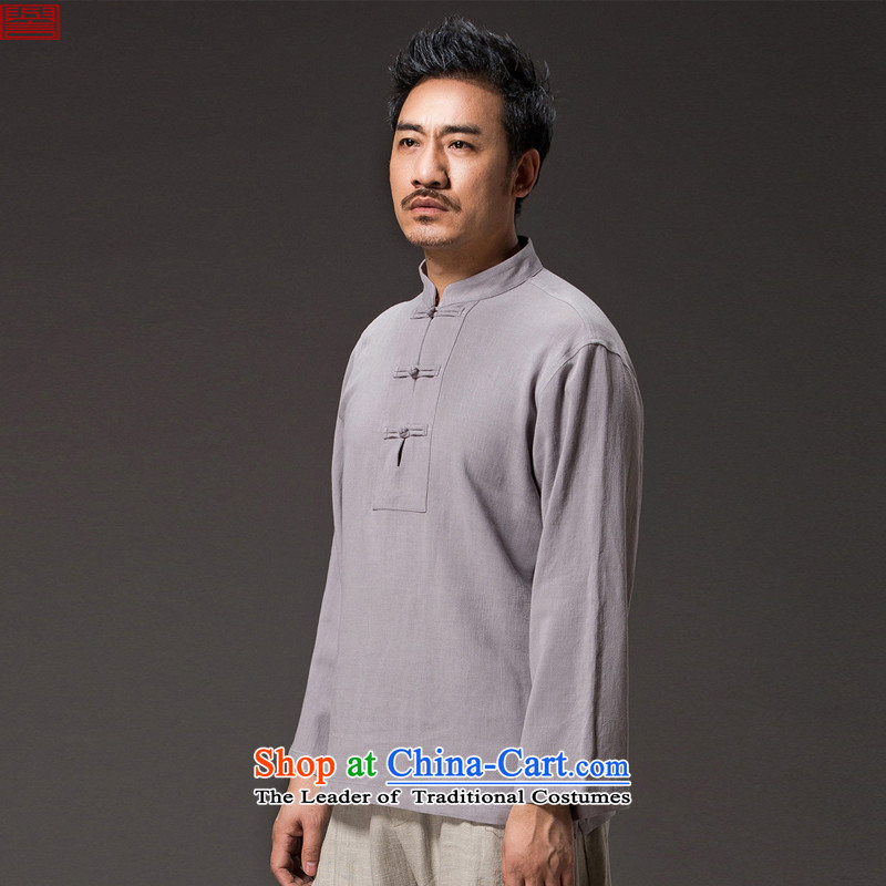 Renowned Chinese service Tang dynasty China wind men long-sleeved T-shirt autumn loose men linen clothes solid color cotton linen shirts and ties of light gray聽3XL Disc