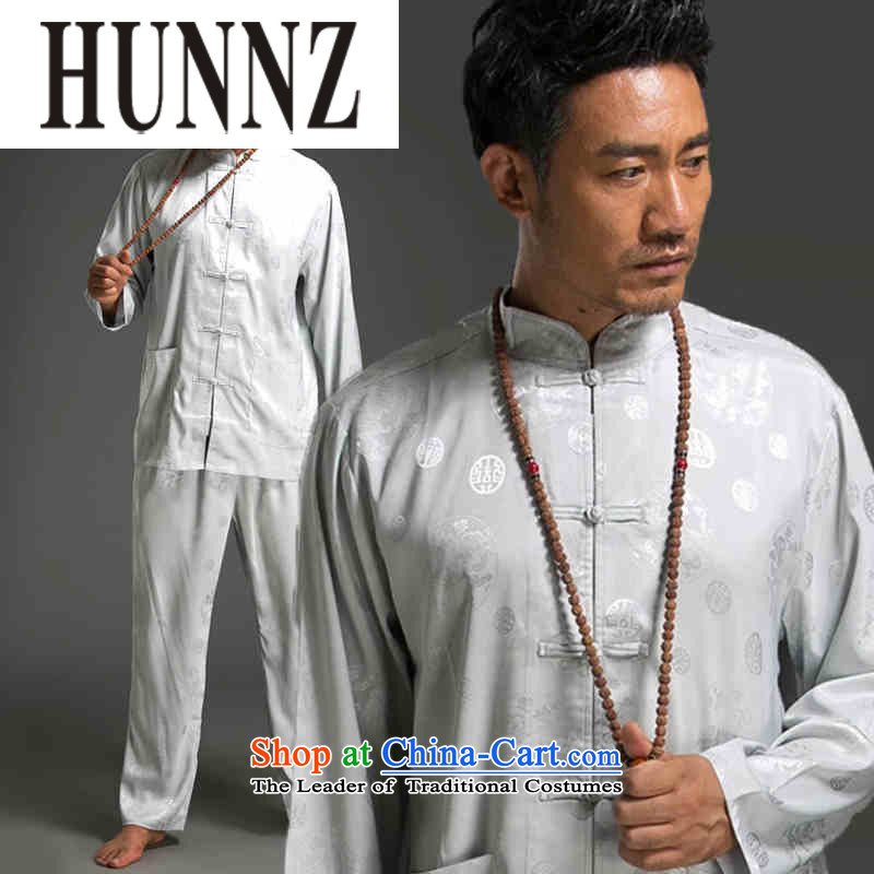 Tang dynasty China wind HUNNZ men and long-sleeved kit minimalist Men's Mock-Neck Shirt tray clip(Chinese Traditional Han-White?XXL