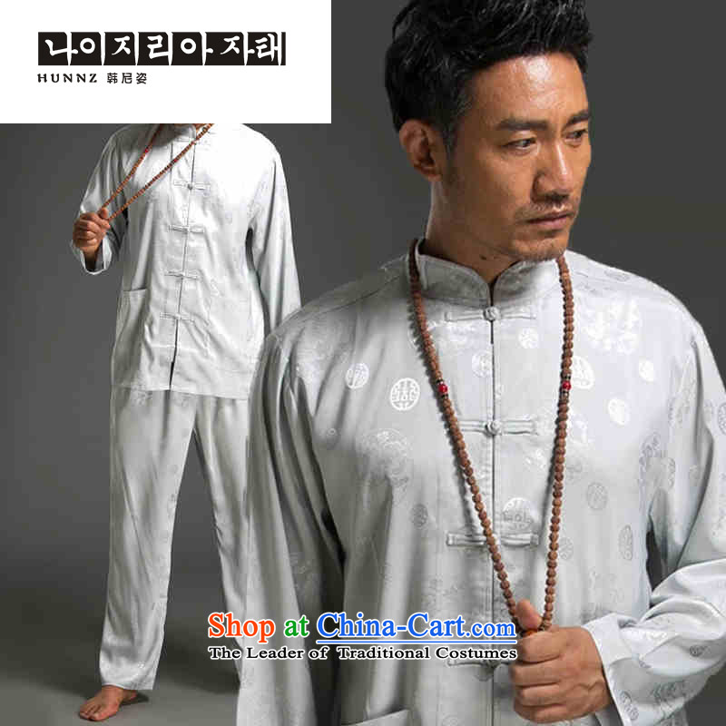 Tang dynasty China wind HANNIZI men and long-sleeved kit minimalist Men's Mock-Neck Shirt tray clip_Chinese Traditional Han-White燲L