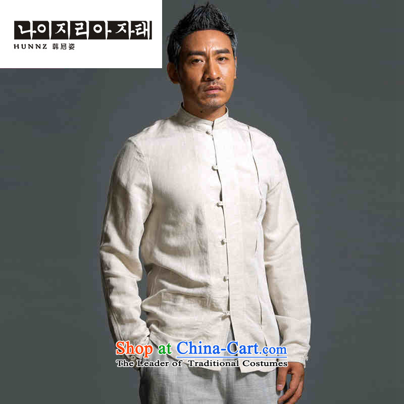 New Natural Linen HANNIZI ethnic pure color Han-classical Chinese characteristics Tang dynasty minimalist white long-sleeved shirt燲XXL