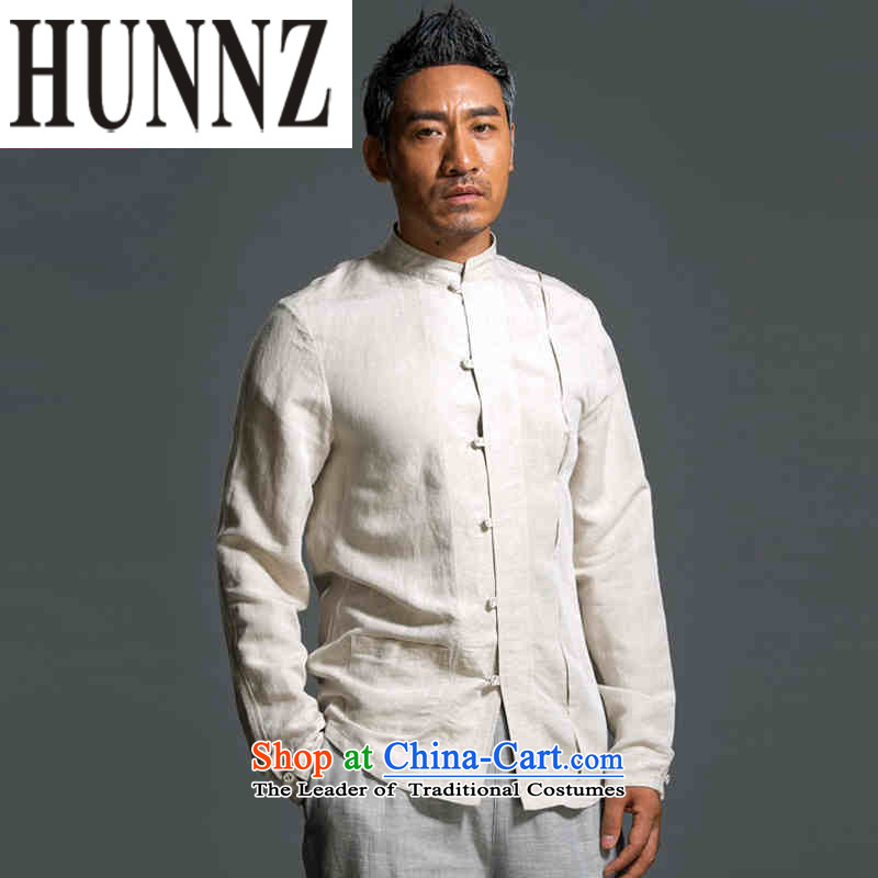 New Natural Linen HUNNZ ethnic pure color Han-classical Chinese characteristics Tang dynasty minimalist white long-sleeved shirt?L