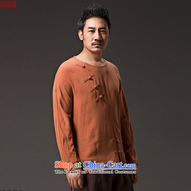 Renowned Chinese men serving long-sleeved linen autumn Tang Dynasty, China wind jacket loose cotton linen tray clip ends Han-need improved national orange聽L