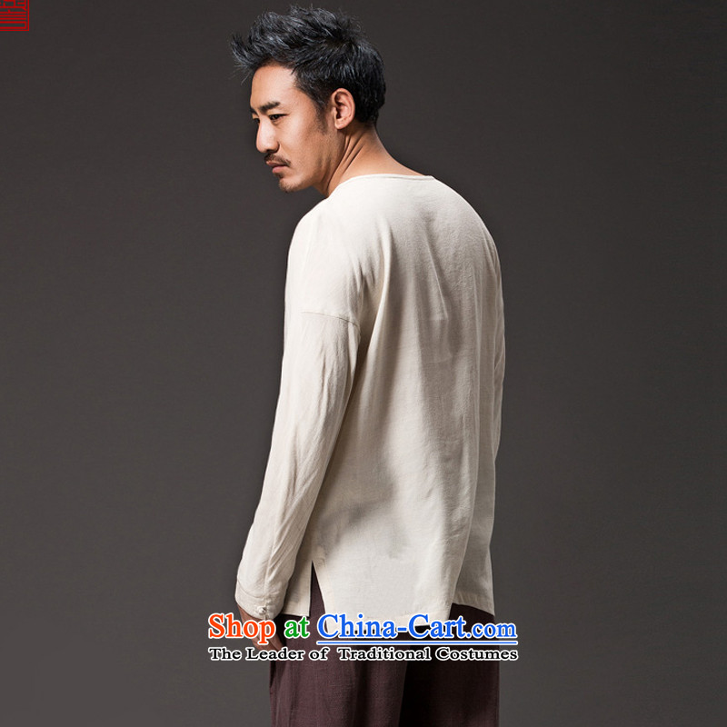 Renowned Chinese men serving long-sleeved linen autumn Tang Dynasty, China wind jacket loose cotton linen tray clip ends Han-need improved national orange , L, renowned (chiyu) , , , shopping on the Internet