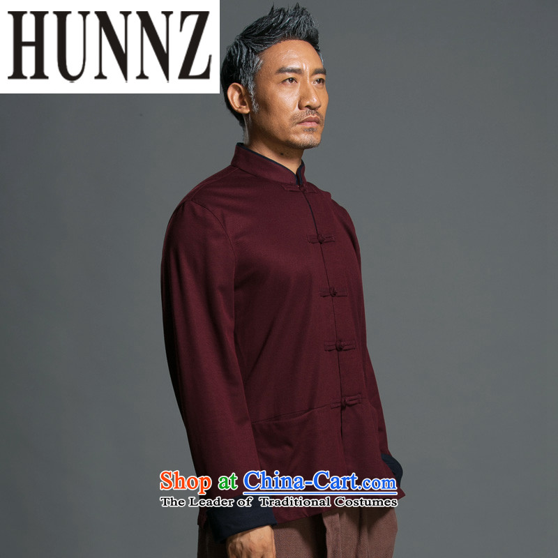 China wind male relaxd HUNNZ long-sleeved Tang Dynasty Chinese Men's Mock-Neck National wind up the clip jacket improved Han-dark red燲XXL