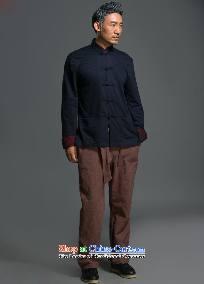 China wind male relaxd HANNIZI long-sleeved Tang Dynasty Chinese Men's Mock-Neck National wind up the clip jacket improved Han-dark blue聽L picture, prices, brand platters! The elections are supplied in the national character of distribution, so action, buy now enjoy more preferential! As soon as possible.
