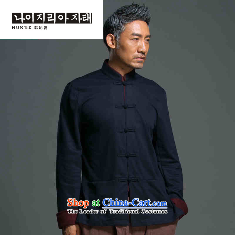 China wind male relaxd HANNIZI long-sleeved Tang Dynasty Chinese Men's Mock-Neck National wind up the clip jacket improved Han-dark blue?L
