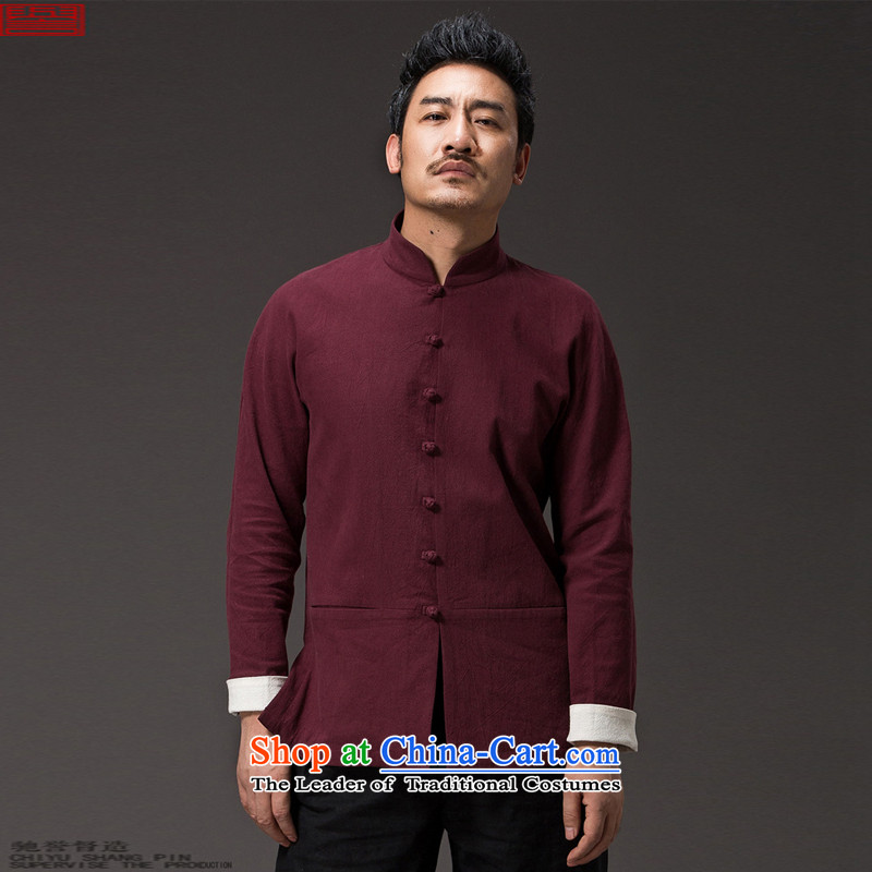 Renowned Chinese service Tang dynasty China wind and long-sleeved sweater linen clothes men fall loose cotton linen men Chinese Disc solid color tie dark red?2XL