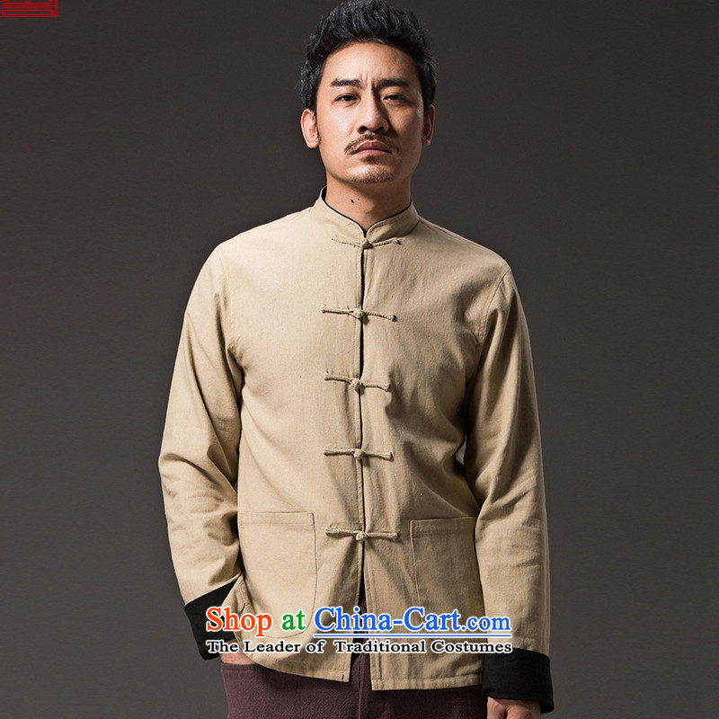 Renowned Chinese Services China wind retro men wearing Chinese men duplex Tang dynasty long-sleeved Sau San Disk Spring Collar deduction jacket 0368 Huang?XL