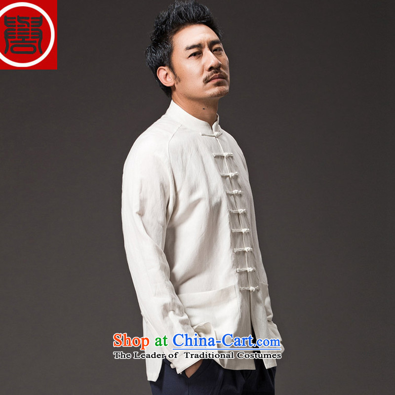 Renowned Chinese men serving long-sleeve sweater in Tang dynasty white collar Autumn Chinese Men's Shirt linen wind new cotton linen white male Han-聽L