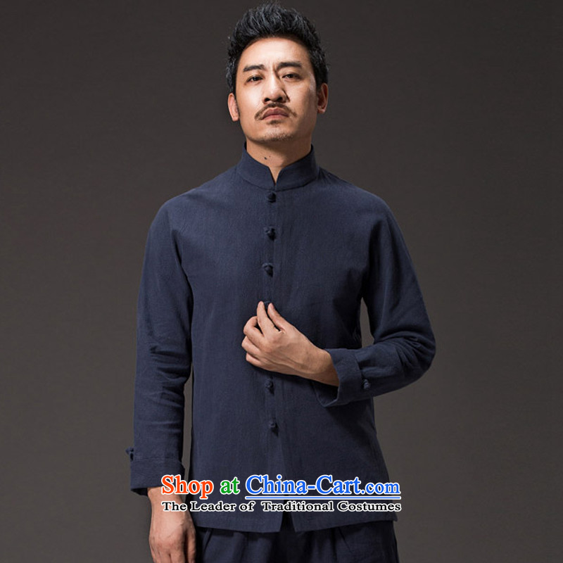 Renowned Chinese Tang dynasty men serving long-sleeved shirt collar tray clip Autumn Chinese Wind Men's Shirt cotton linen flax jacket male Chinese rice White燲L