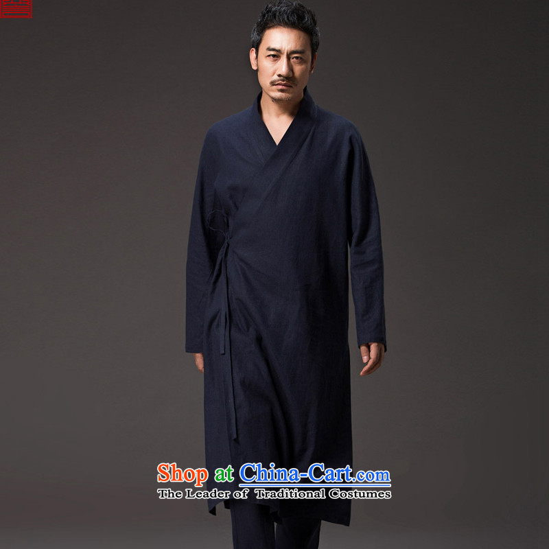 Renowned Chinese Services China wind men Han-Tang dynasty improved cheongsams windbreaker tea service long-sleeved gown is loose ball-spiritual and deep blue jacket聽XL