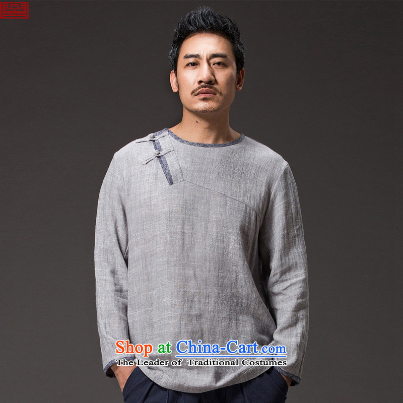 Renowned Chinese services of ethnic men long-sleeved T-shirt with round collar linen Tang blouses disc spring clip men Han-chinese characteristics of light gray 36�L