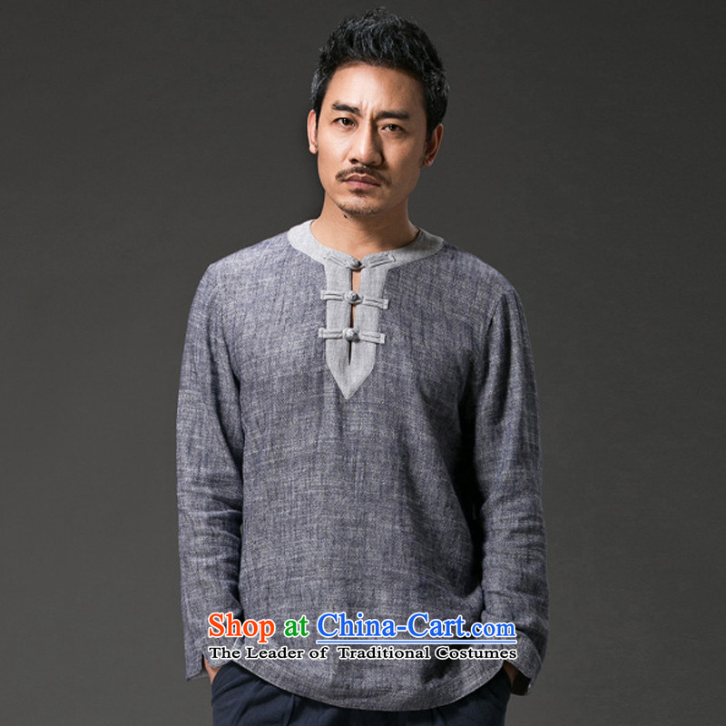 Renowned Chinese services fall inside the long-sleeved T-shirt and Autumn Chinese Wind linen clothes V-neck disc Tang dynasty detained men cotton linen retro Chinese Light Gray燲L