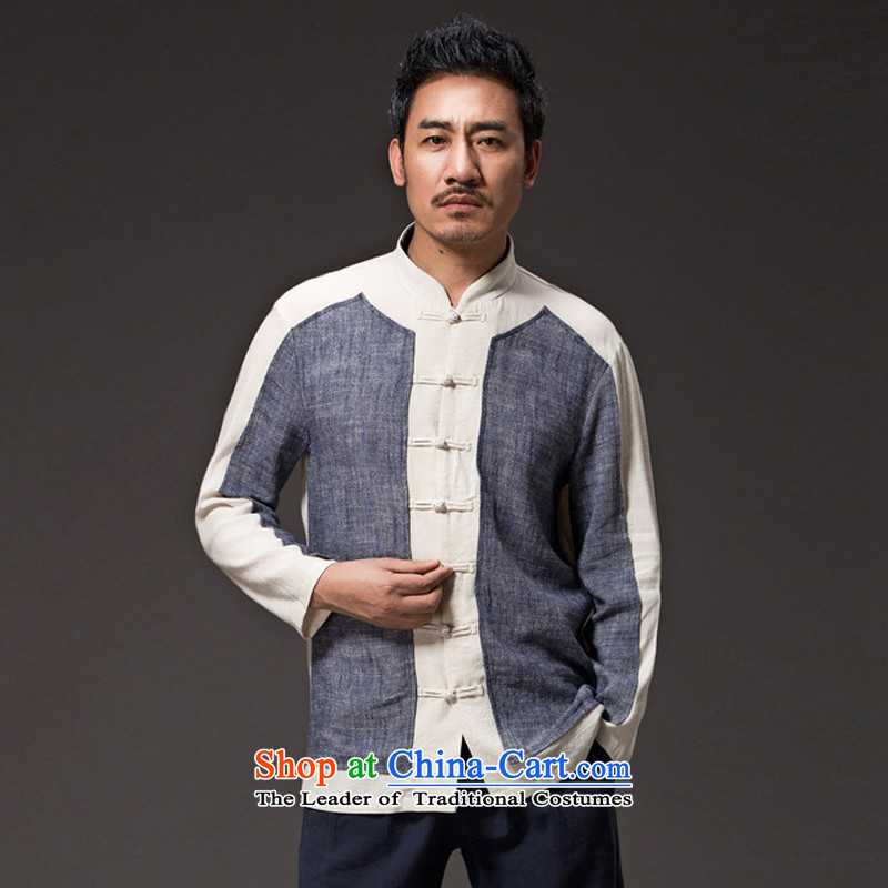 Renowned Chinese Services China wind men's jackets autumn, Tang men linen clothes loose cotton linen long-sleeved shirt Han-national dark gray燲L