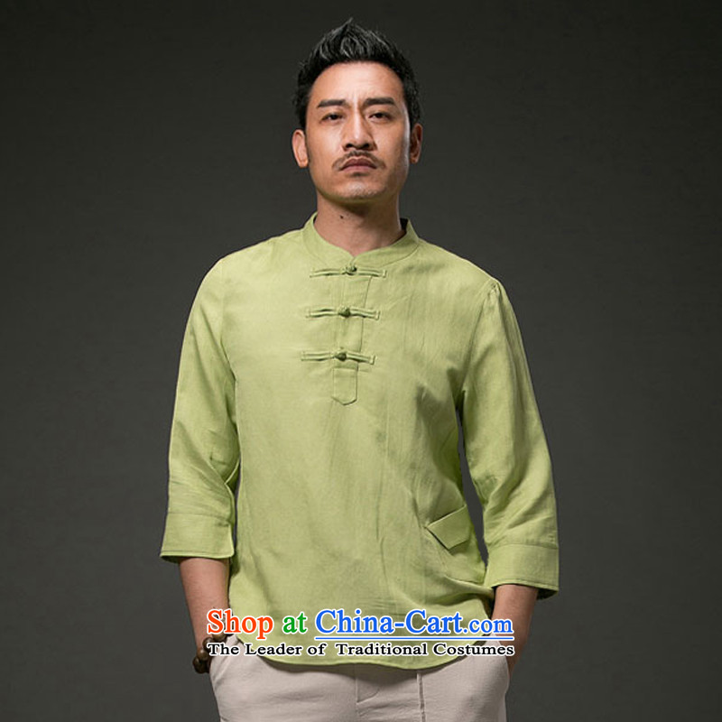 Renowned Chinese services for summer ethnic men short-sleeved T-shirt linen collar Tang Dynasty Chinese shirt cotton linen 2015 7 male light green聽3XL cuffs
