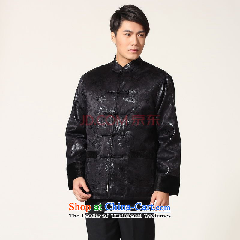 Picking Frequency Male jacket water Sable Hair Tang Add Tang dynasty lint-free men long-sleeved sweater Chinese Dragon Tang blouses dark blue XXXL -B