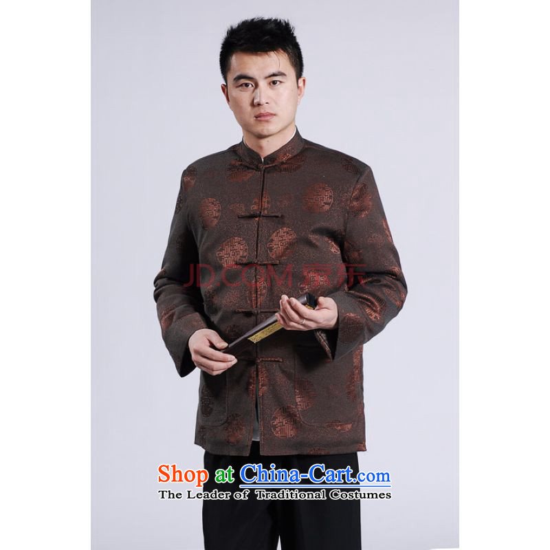 Picking Frequency Male jacket thick cotton plus add-Tang Tang replacing men long-sleeved sweater Chinese Dragon Tang blouses XXXL Brown