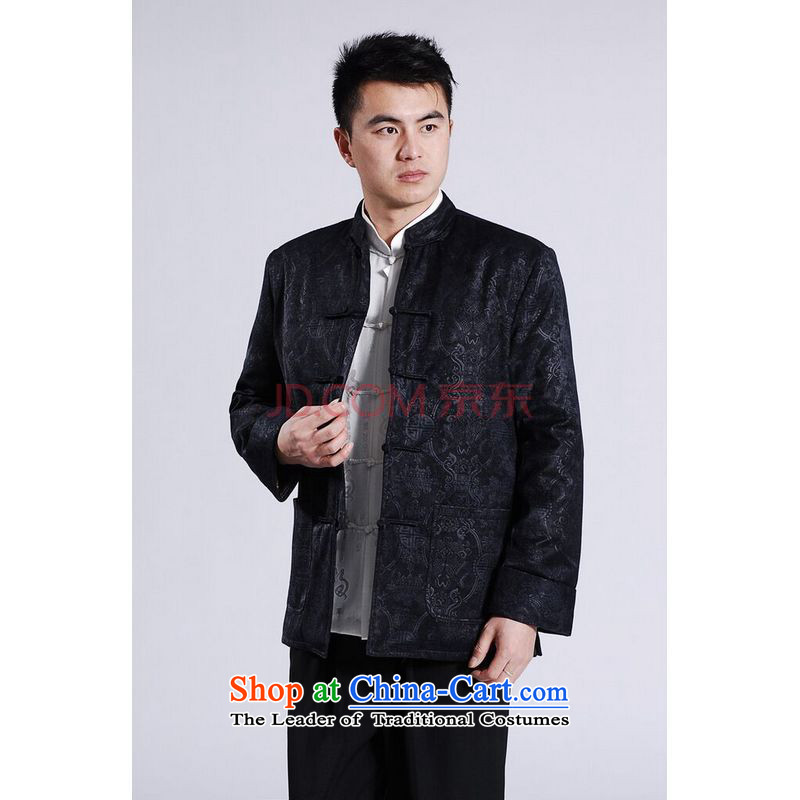 Picking Frequency Male jacket thick cotton plus add-Tang Tang replacing men long-sleeved sweater Chinese Dragon Tang blouses燲XXL Dark Blue