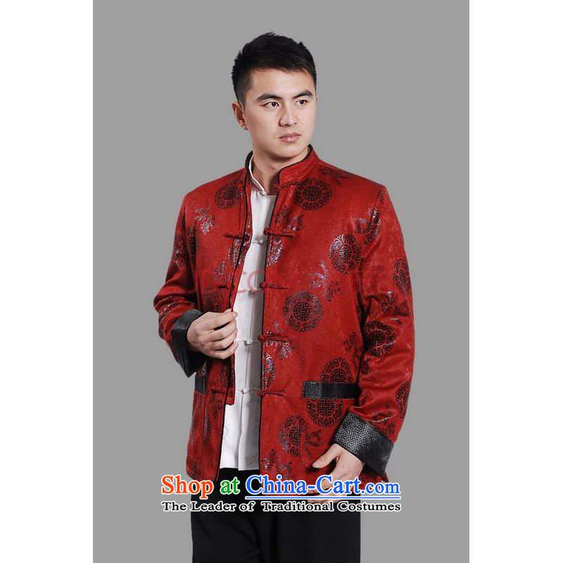 Picking Frequency Male jacket water Sable Hair Tang Add Tang dynasty lint-free men long-sleeved sweater Chinese Dragon Tang blouses red XXL