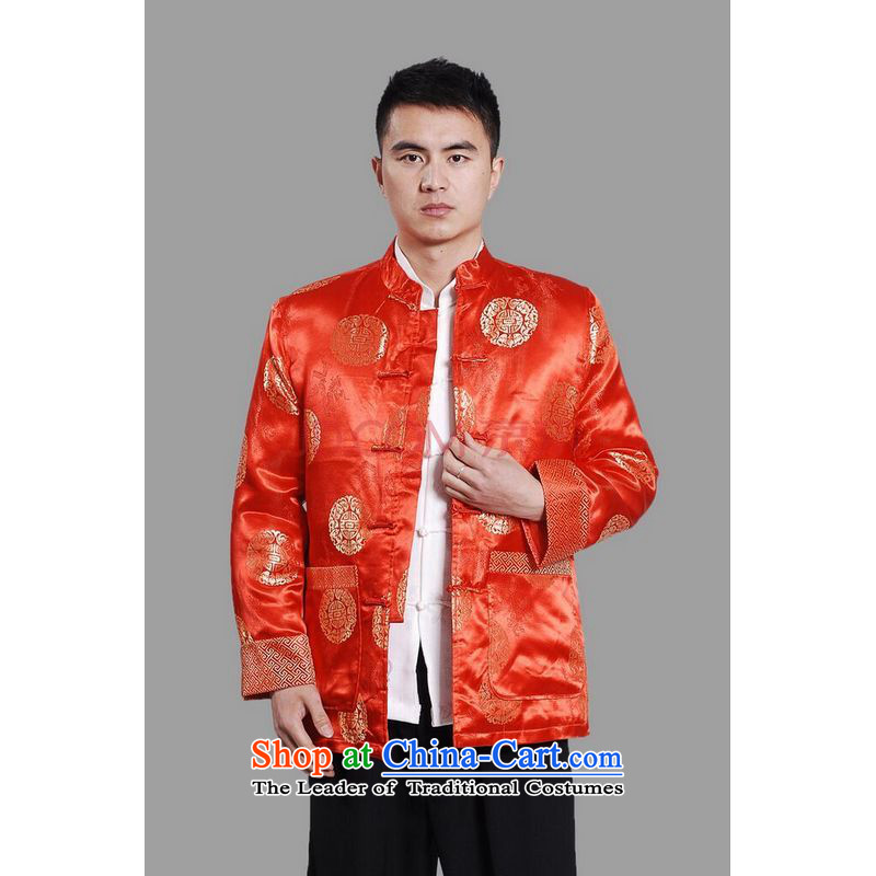 Picking Frequency Male jacket thick cotton plus add-Tang Tang replacing men long-sleeved sweater Chinese Dragon Tang blouses燲XXL red