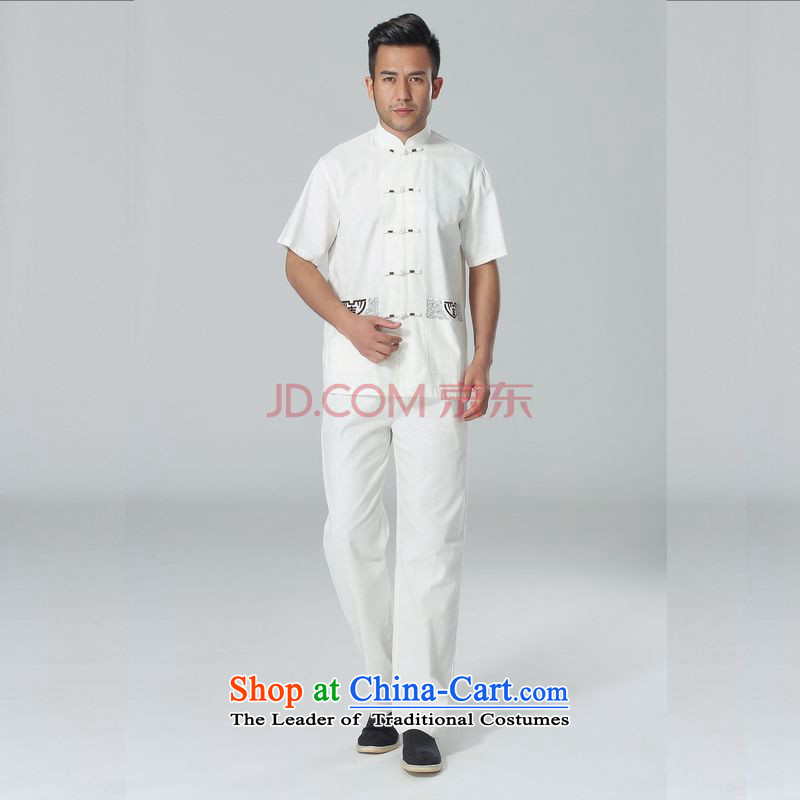 The elderly in the Broadband picking Tang replacing men summer cotton linen collar Chinese Tai Chi Man serving short-sleeve kit for larger men's kung fu Kit White燲XL